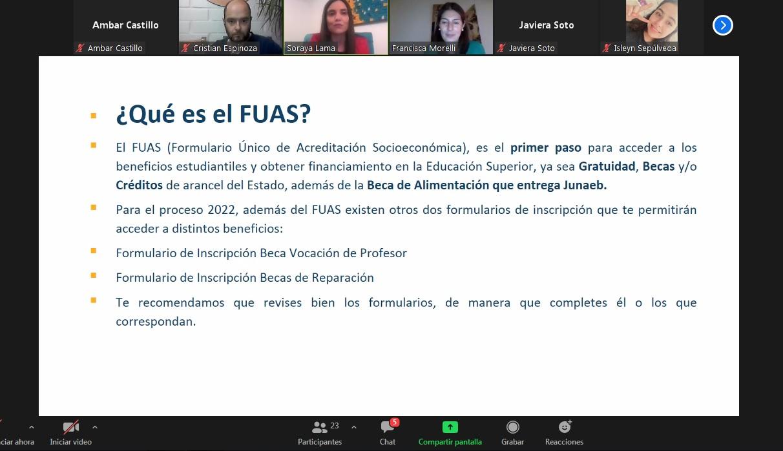 Masiva participación  en Charla de postulación al FUAS